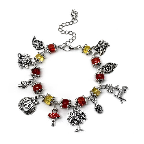 Autumnal Colours - Beaded Charm Bracelet