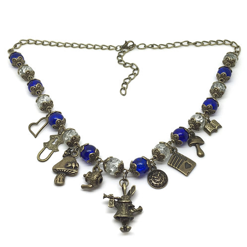 White Rabbit Blue Bead Charm Necklace
