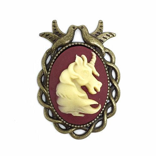 Bronze Unicorn Bird Frame Brooch