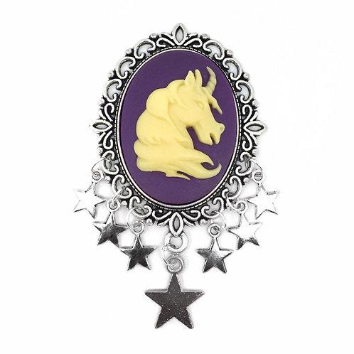 XL Purple Unicorn Star Charm Brooch