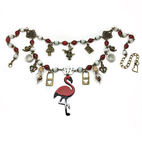 Queen of Hearts Statement Flamingo Necklace