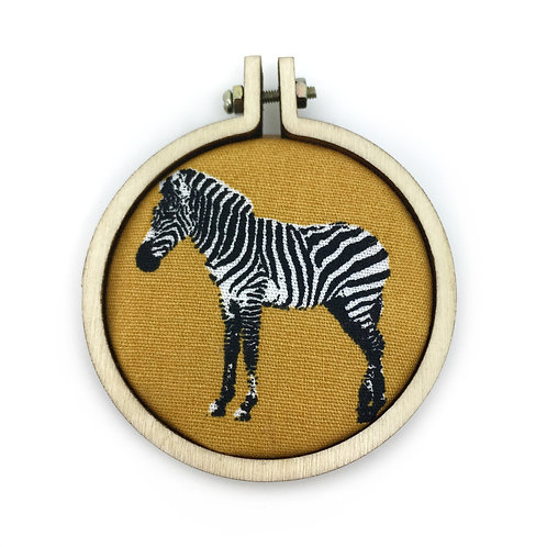 Mustard Zebra Fabric Hoop Necklace