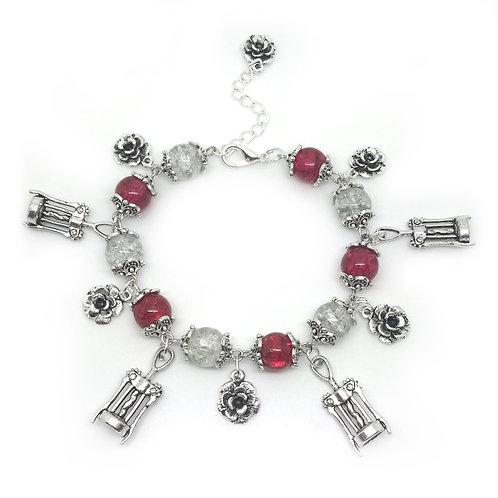 """Wine & Flowers"" ~ Pink & White Charm Bracelet"
