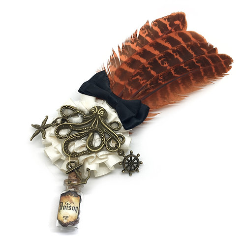 Steampunk Kraken Brooch / Hair Clip