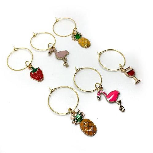 Summer Wine Glass Charms - Set of 6