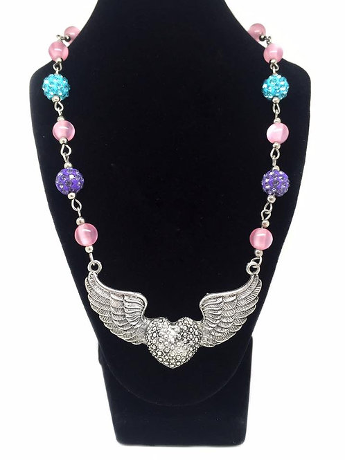 Winged Heart Sparkling Beaded Necklace