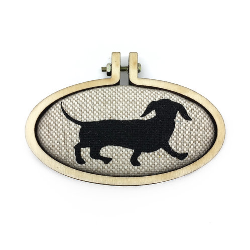 Daschund Dog Fabric Pendant Necklace
