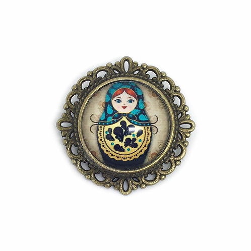 Blue & Yellow Russian Doll Cameo Brooch