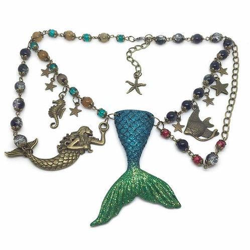 """A Mermaid's Tale"" ~ Unique Charm Necklace"