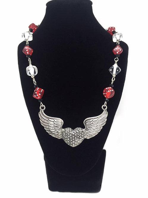 Las Vegas Winged Heart & Dice Necklace