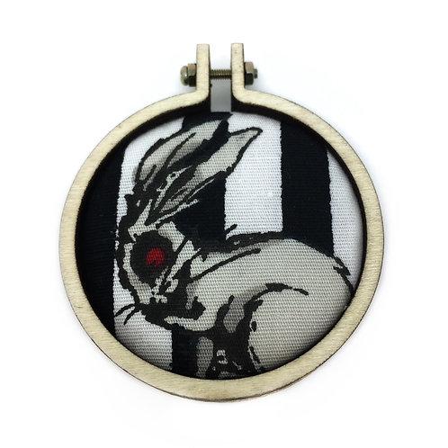 Zombie Bunny Rabbit Fabric Hoop Necklace