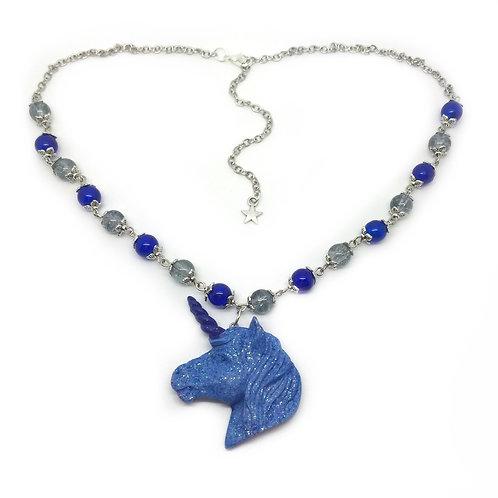 Sparkly Blue Unicorn Necklace