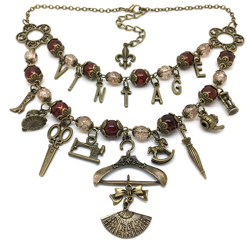 Vintage Victorian Lady Themed Charm Necklace