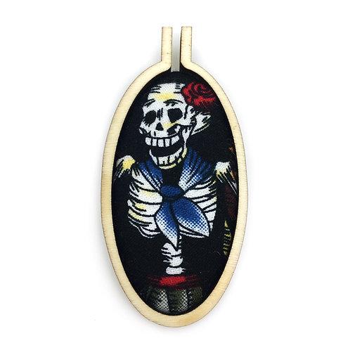 Fiesta De Los Muertos Black Fabric Hoop Necklace