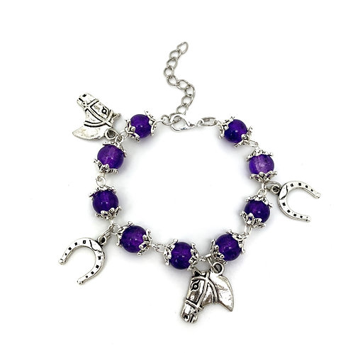 Purple Beaded Children's Horse Charm Bracelet
