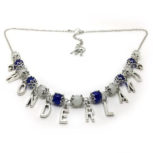 Wonderland Blue Beaded Charm Necklace