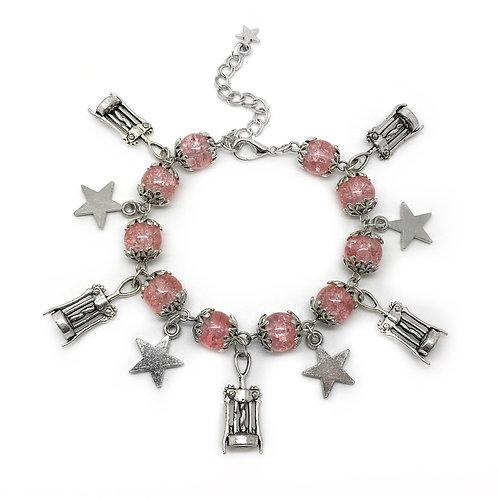 Rose Wine Corkscrew Pink Charm Bracelet