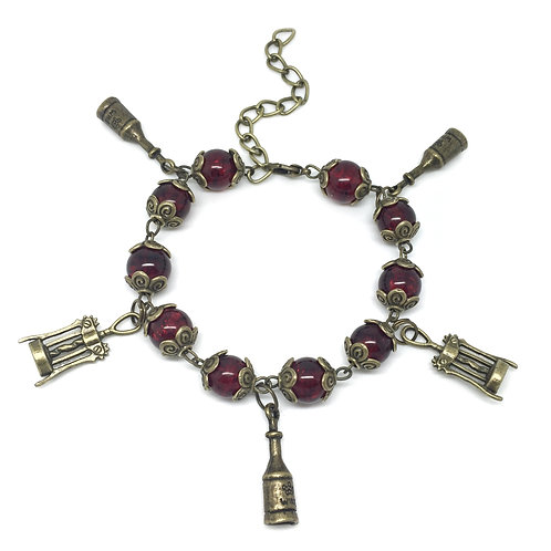 Red Wine Bottle & Corkscrew Charm Bracelet