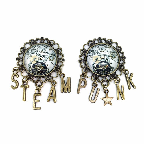 Pair of Bronze Steampunk Cog Collar Brooches