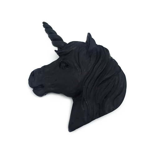 Pure Black Unicorn Brooch