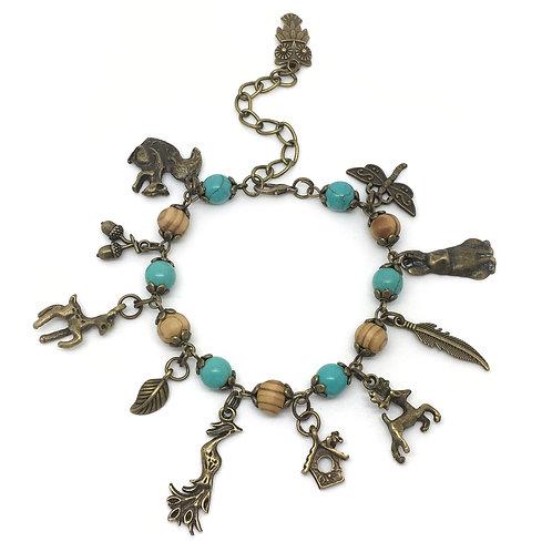 Boho Wildlife Turquoise & Wooden Charm Bracelet