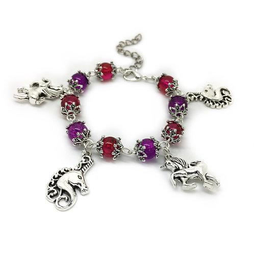 Children's Pink & Purple Unicorn Bracelet