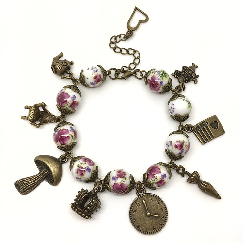 Purple Vintage Style Alice In Wonderland Charm Bracelet