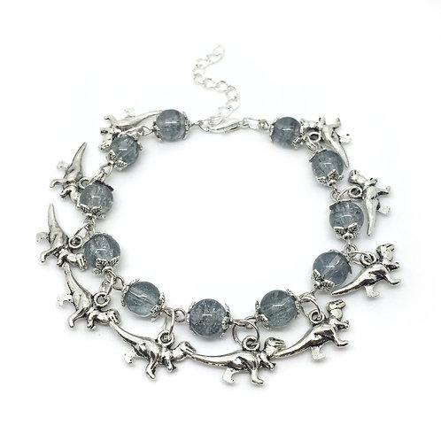 Metallic Grey Dinosaur Charm Bracelet