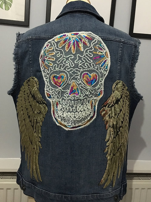 Winged Skull Back Embellished Ladies Jacket