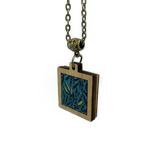 Teal Boho Leaf Print Miniature Necklace