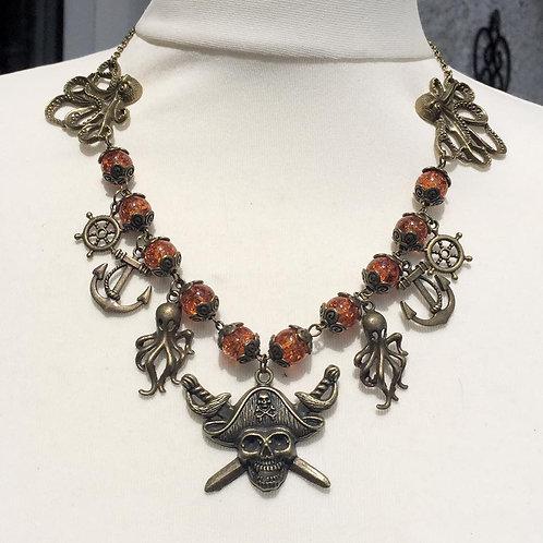 Steampunk Pirate Kraken Beaded Necklace