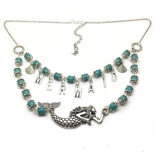 Turquoise Twin Row Mermaid Necklace