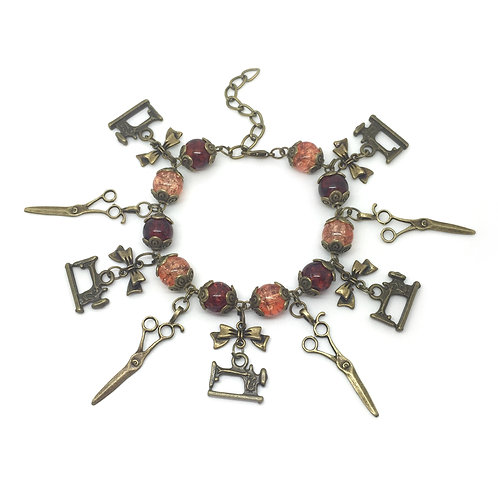 Sewing Enthusiast Steampunk Charm Bracelet