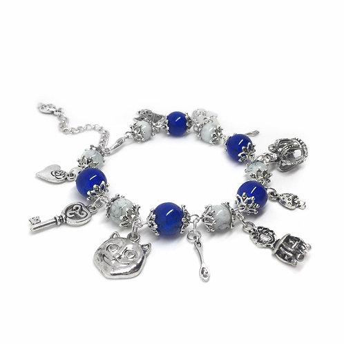 Blue & White Alice in Wonderland Charm Bracelet