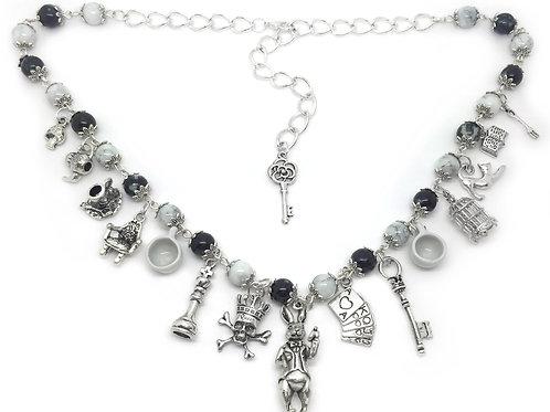 Black & White Beaded Wonderland Charm Necklace