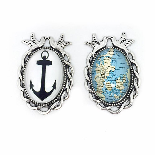 Pair of Pirate/Sailor Nautical Brooches