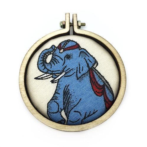 Vintage Circus Elephant Fabric Necklace