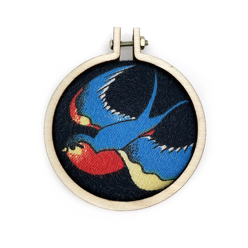 Large Swallow Tattoo Style Fabric Necklace