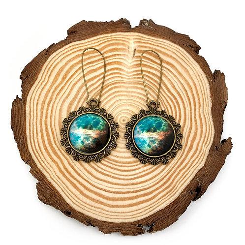 Galaxy Domed Glass Cameo Earrings