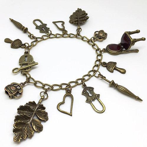 Retro/Vintage Bronze Charm Toggle Bracelet