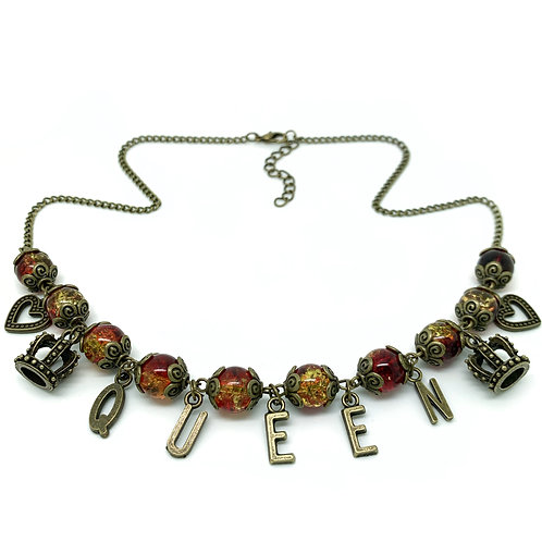 Queen Of Hearts Red Beaded Necklace