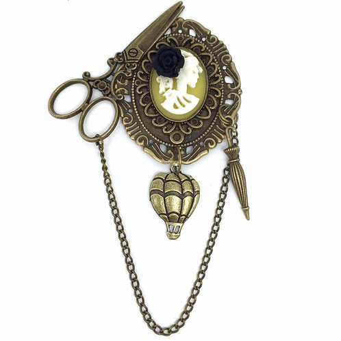Steampunk Victorian Lady Cameo Brooch