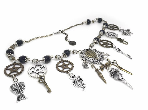 Beaded Steampunk Cog & Charm Necklace