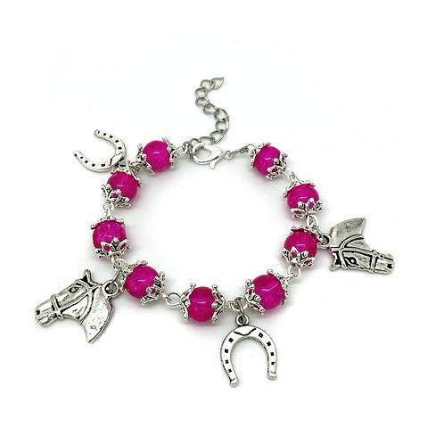 Pink Beaded Children's Horse Charm Bracelet