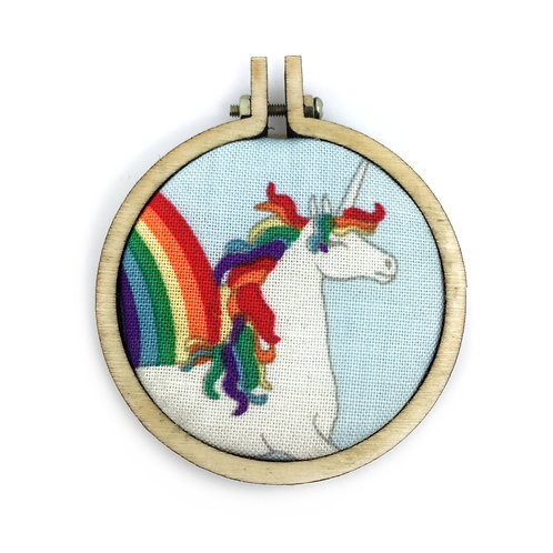 Rainbow Unicorn Fabric Hoop Necklace