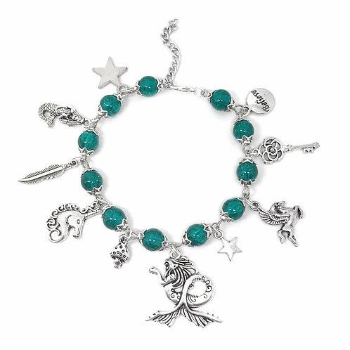 Ocean Green Mermaid Fantasy Charm Bracelet
