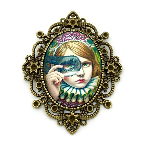 Vintage Carnival Mask Girl Brooch