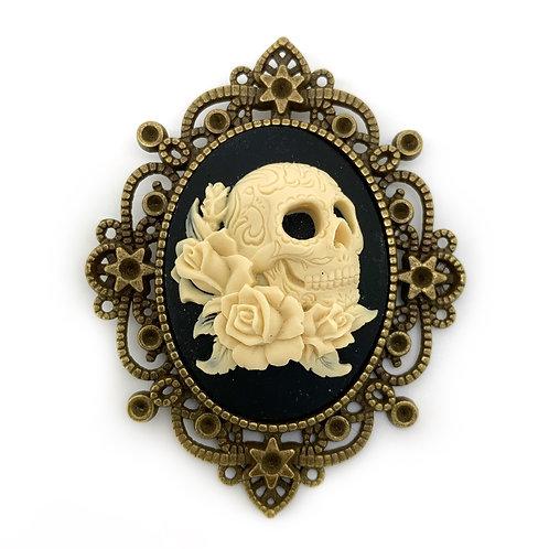 Skull & Roses Bronze Cameo Brooch