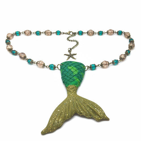 Gold & Sea Green Mermaid Tail Necklace