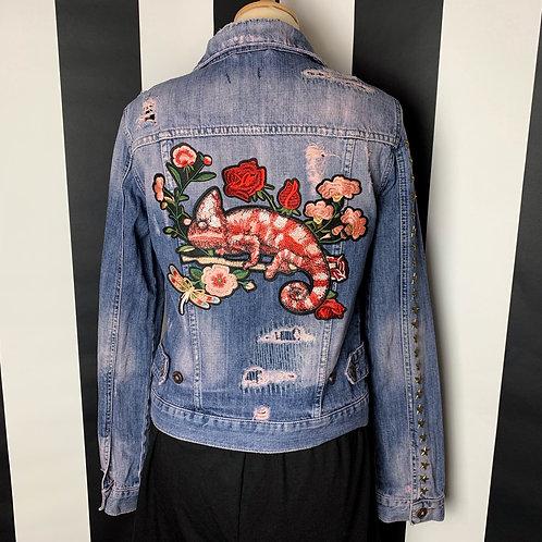 Pink Chameleon Distressed Denim Jacket